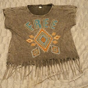 Daytrip Destress T-Shirt With Fringes